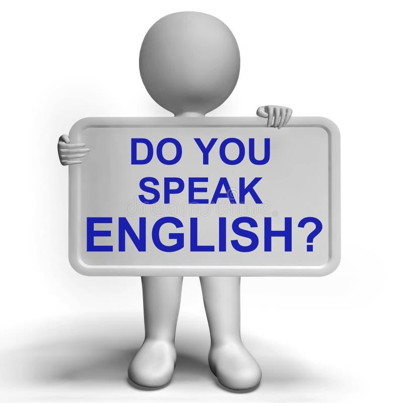 Parlate il segno inglese che mostra l'apprendimento delle lingue illustrazione di stock