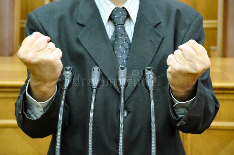 Parlementaire toespraak stock foto
