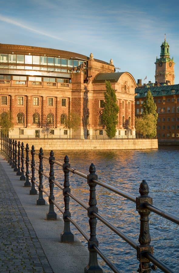 Parlementsgebouw in Stockholm. stock afbeelding