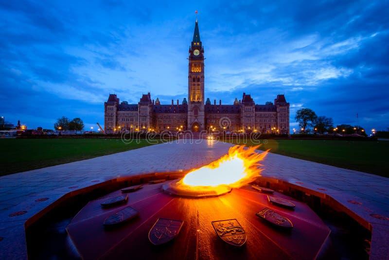 Parlementsgebouw van Canada en honderdjarige vlam royalty-vrije stock foto