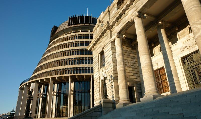 Parlementsgebouwen, Nieuw Zeeland. stock afbeelding
