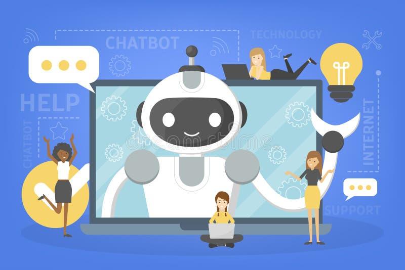 Parler à un chatbot en ligne sur l'ordinateur portable illustration libre de droits