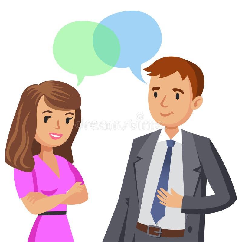 Parler d'homme et de femmes Collègues ou amis de réunion Vecteur illustration stock
