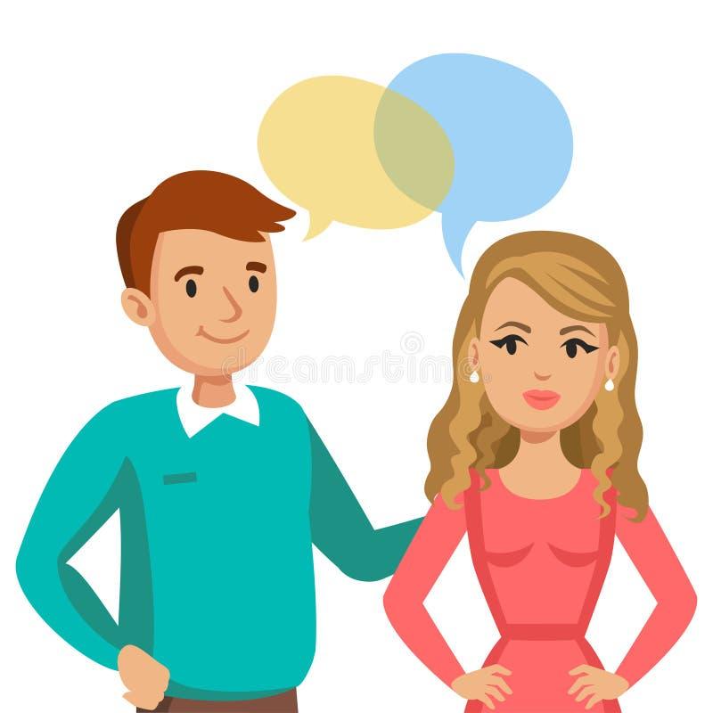 Parler d'homme et de femmes Entretien des couples ou des amis Vecteur illustration stock