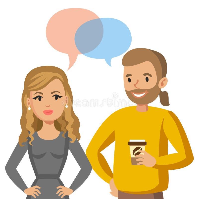 Parler d'homme et de femmes Entretien des couples ou des collègues Vecteur illustration de vecteur