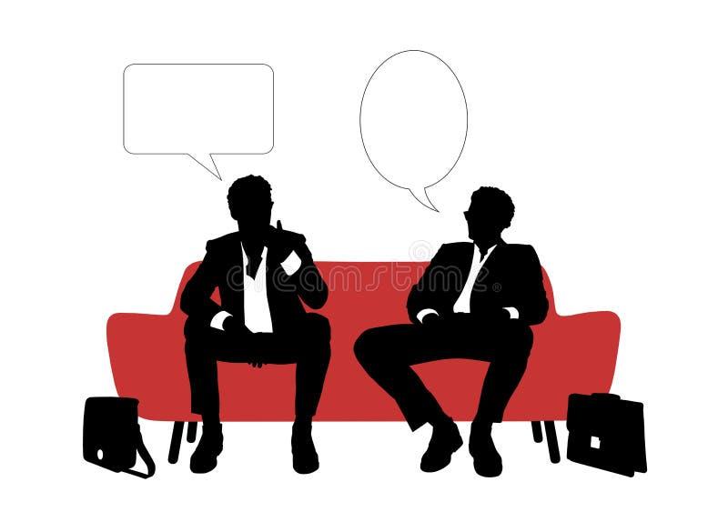 Parler de deux hommes d'affaires posé sur le sofa rouge illustration stock