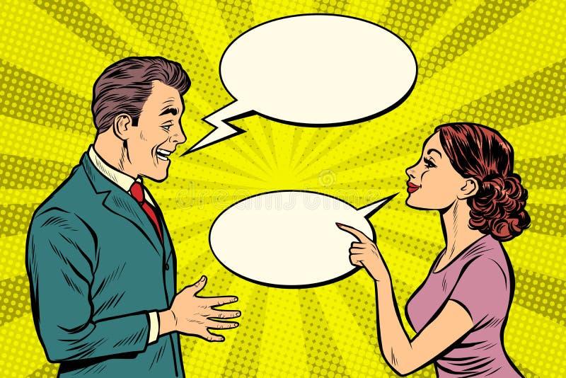 Parler de femme et d'homme illustration de vecteur