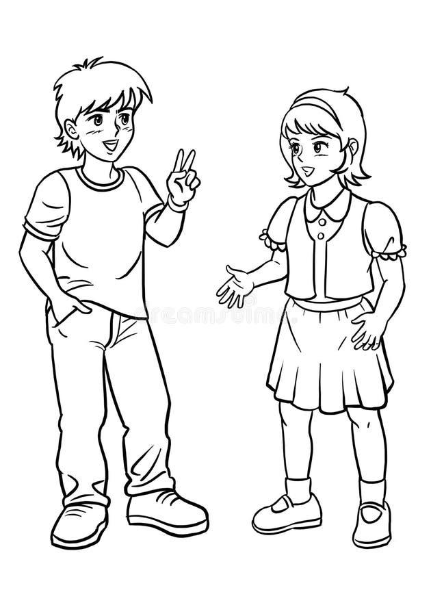 Parler de garçon et de fille image stock