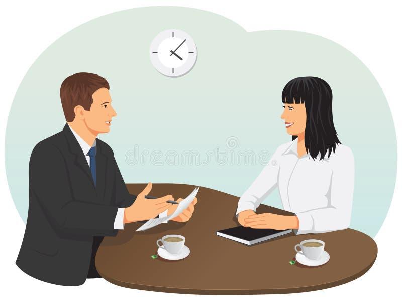 parler de sourire de contact d'ordinateur portatif de bureau de cmputer d'homme d'affaires d'affaires à utiliser la femme illustration libre de droits
