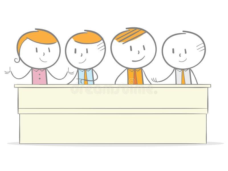 parler de sourire de contact d'ordinateur portatif de bureau de cmputer d'homme d'affaires d'affaires à utiliser la femme illustration de vecteur