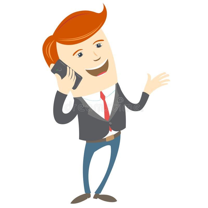 Parler de téléphone d'homme de bureau illustration libre de droits