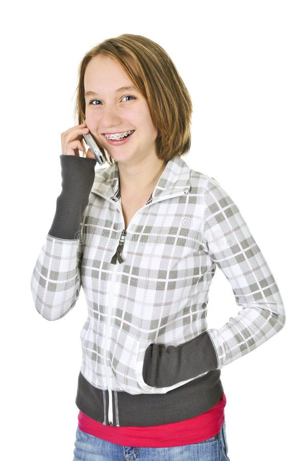 parler de téléphone de fille d'adolescent image stock