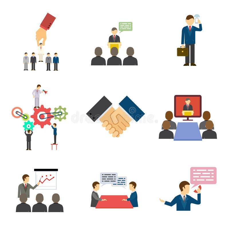 Parler et discours d'hommes d'affaires illustration de vecteur