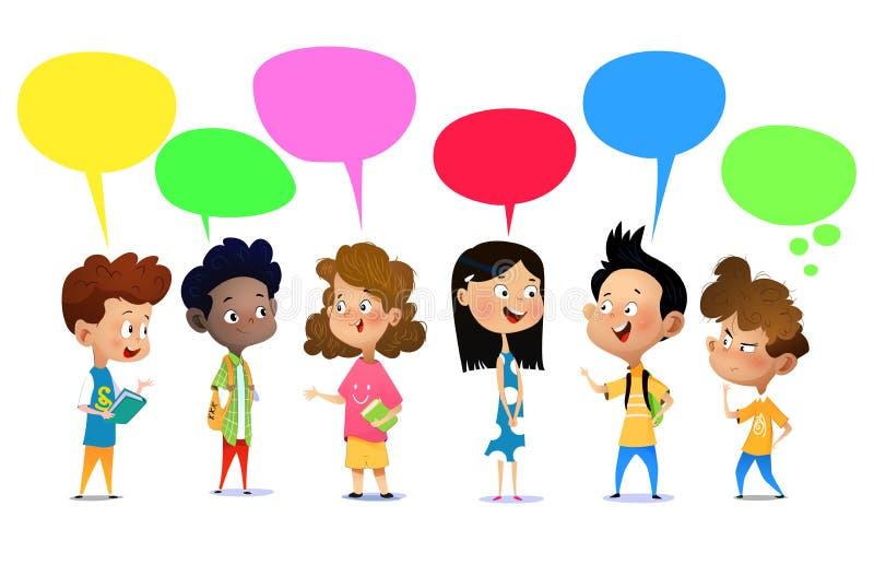 Parler heureux d'enfants illustration de vecteur