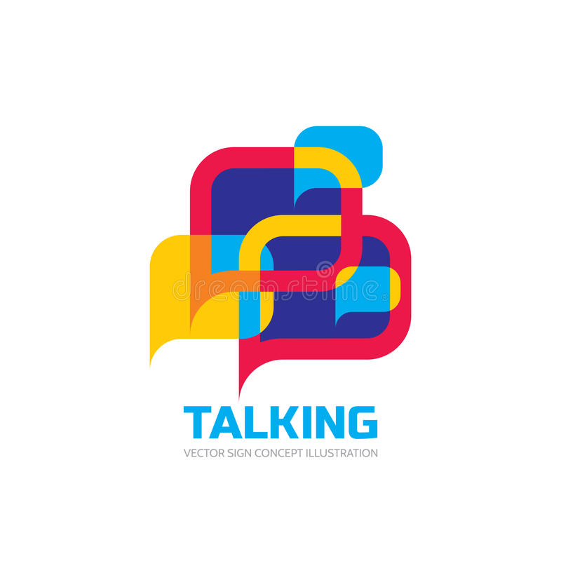 Parler - la parole bouillonne illustration de concept de logo de vecteur dans le style plat Icône de dialogue illustration libre de droits