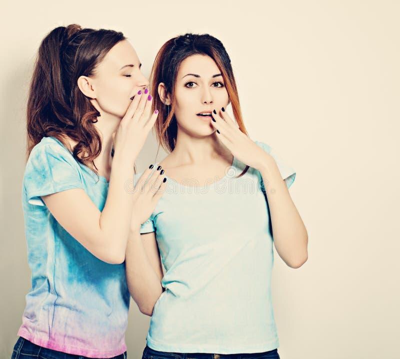 Parler mignon de filles Bavardage La femme chuchote aux secrets d'ami photos libres de droits