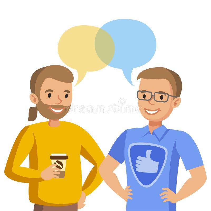 Parler pour deux hommes Entretien des amis ou des collègues Vecteur illustration stock
