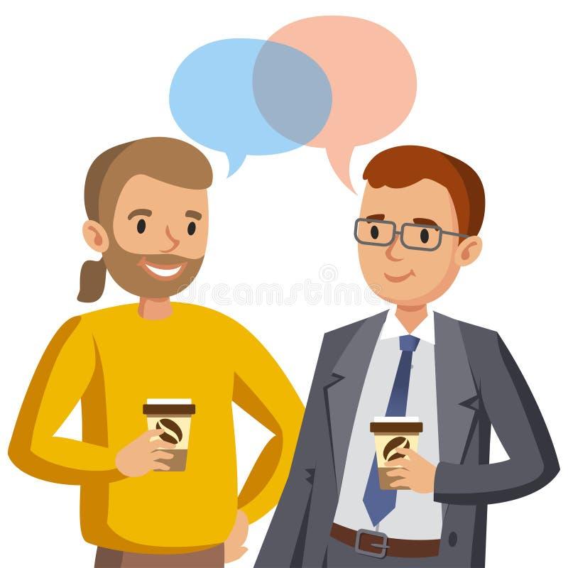 Parler pour deux hommes Réunion des amis ou des collègues Vecteur illustration libre de droits
