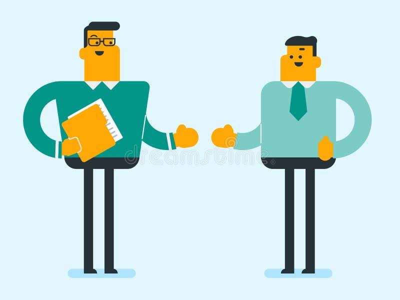 Parler sûr blanc caucasien de deux hommes d'affaires illustration stock
