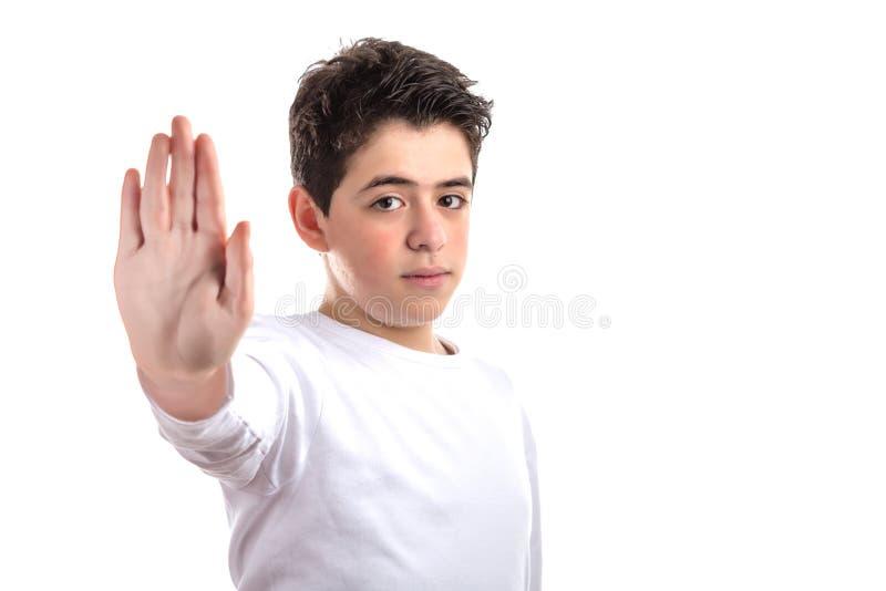 Parlez au geste de main par ado aucasian lisse-pelé photo libre de droits