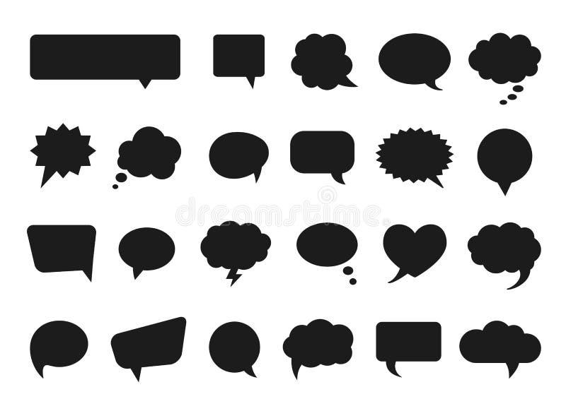Parlez et pensez les silhouettes de bulles de bandes dessinées de vecteur illustration stock
