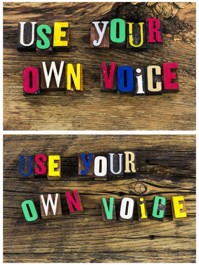 Parlez vers le haut de l'utilisation votre propre collage de voix photos libres de droits