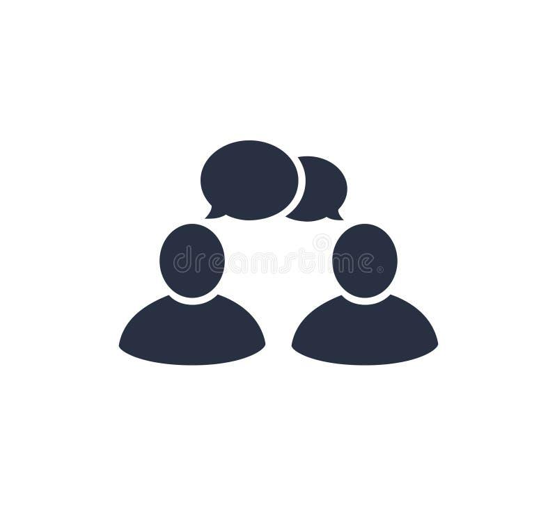Parli l'icona del segno di chiacchierata nello stile piano Illustrazione di vettore di dialogo della bolla su fondo isolato bianc illustrazione vettoriale