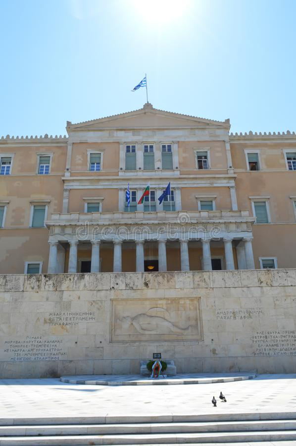 Parliament in Athens, Greece on June 23, 2017. ATHENS, GREECE - JUNE 23: Parliament in Athens, Greece on June 23, 2017 stock photo