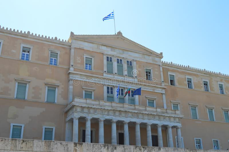 Parliament in Athens, Greece on June 23, 2017. ATHENS, GREECE - JUNE 23: Parliament in Athens, Greece on June 23, 2017 royalty free stock images