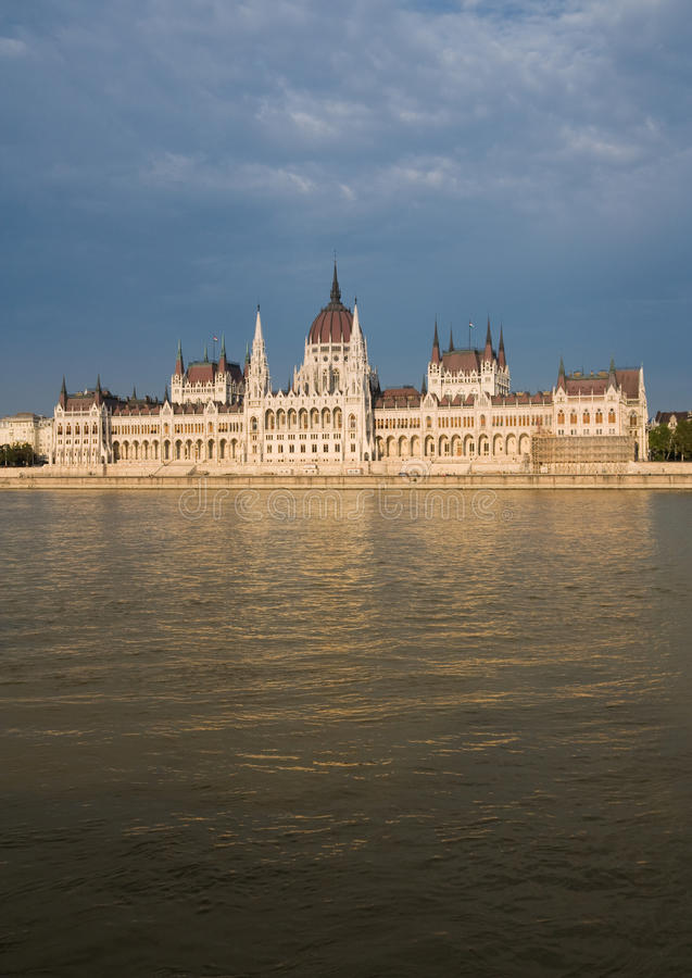 Parliament in budapest. Buildings of budapest parliament with reflections on river danube stock photo