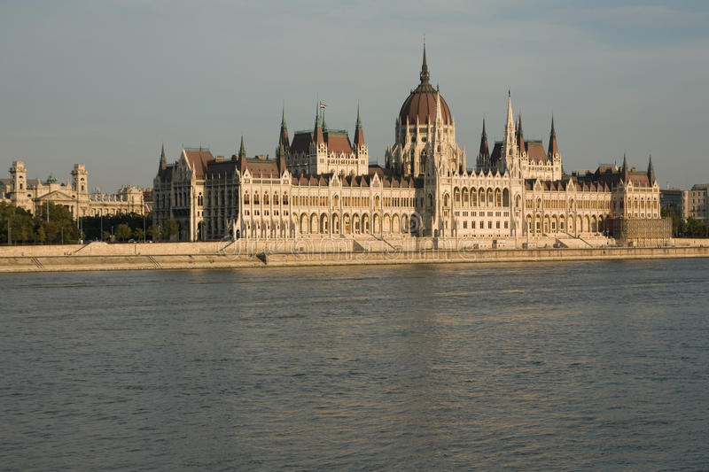 Parliament Budapest. Buildings of budapest parliament with reflections on river danube royalty free stock photo