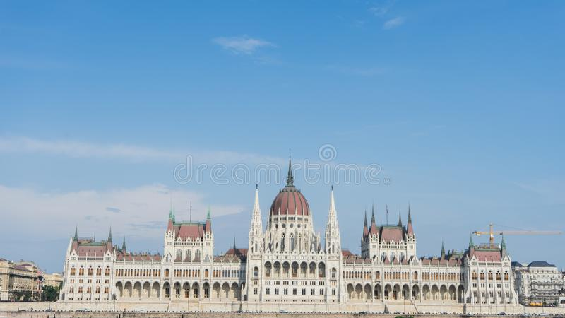 Parliament In Budapest, Hungary from the opposite side of the riverside in the buda part of the city. Famous landmark in the world. In the capital of the stock photos