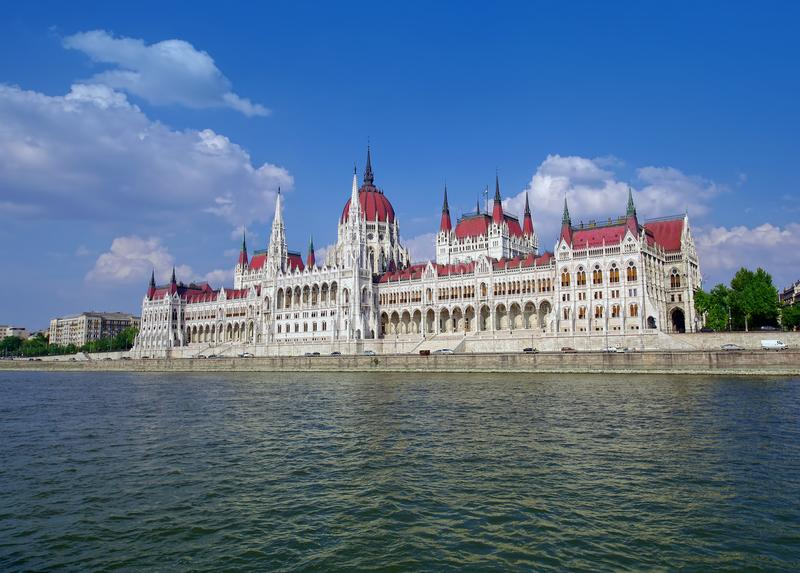 The Parliament of Budapest seen from Danube river cruise stock photography