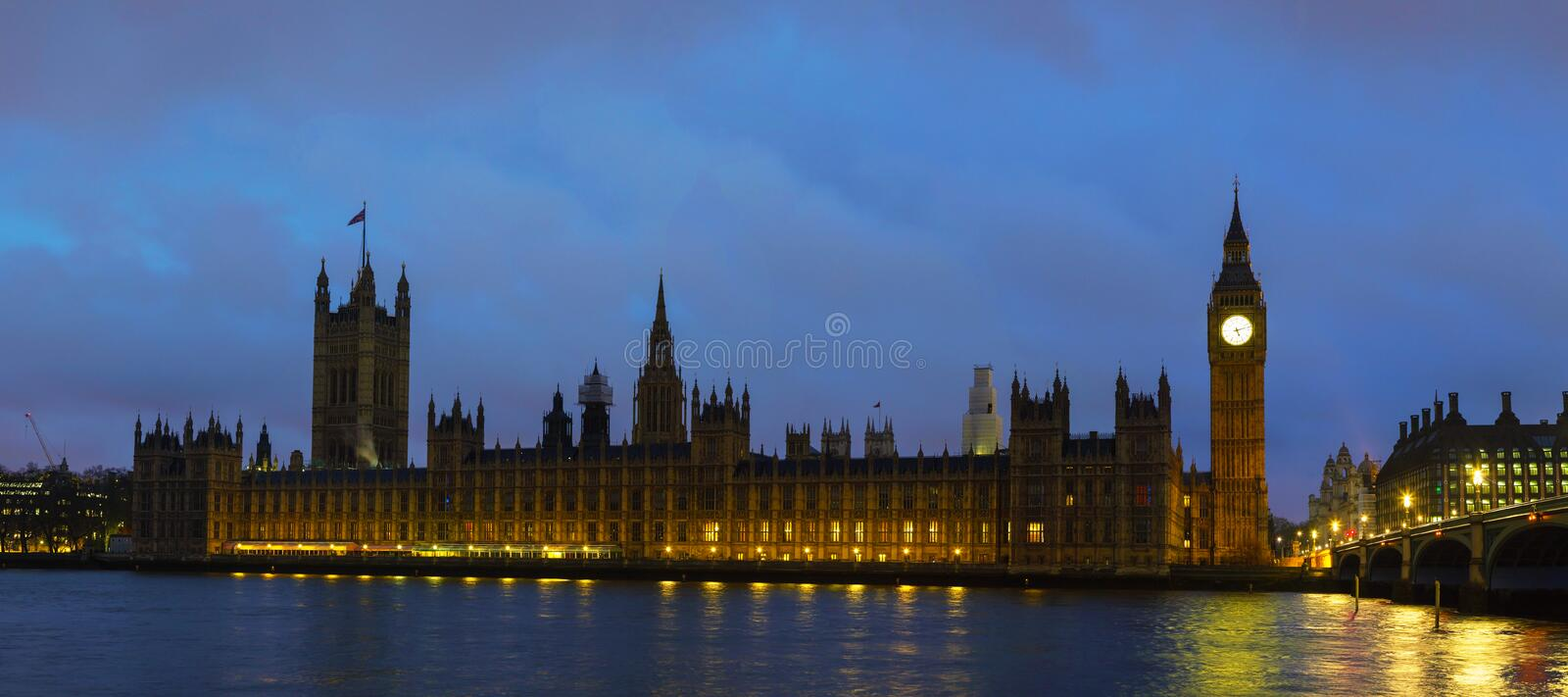 Parliament building with Big Ben panorama in London stock photo