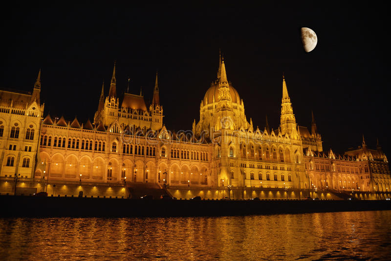 Parliament Building in Budapest. At night with reflections in Danube royalty free stock photos