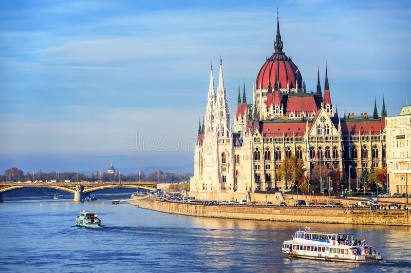 The Parliament building on Danube river, Budapest, Hungary stock photos