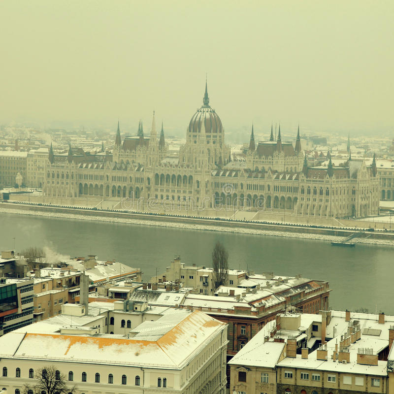 Parliament building and Danube river at winter, Budapest stock photos