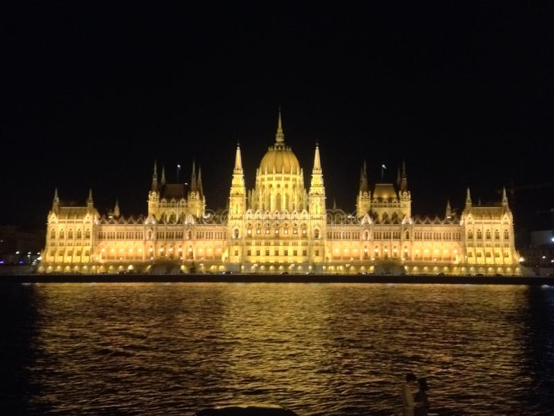 Parliament Building of Hungary. Illuminated in the evening is the Hungarian Parliament Building. Location is Budapest, Hungary, Europe. Taken by Matthew Oakes royalty free stock image