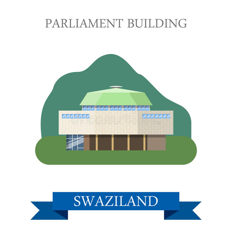 Free Parliament Building In Swaziland Flat Web Vector I Royalty Free Stock Image - 73369836