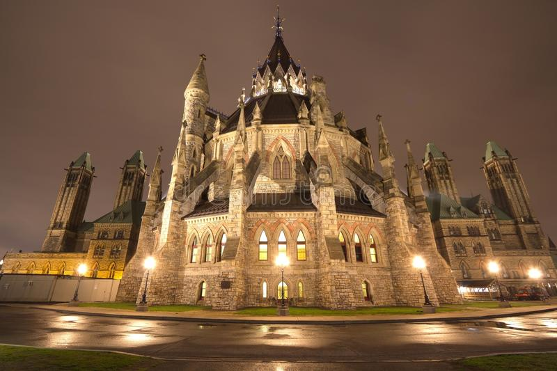 Parliament Building at night, Ottawa, Canada stock image