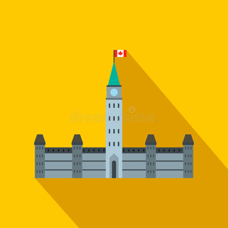 Parliament Buildings, Ottawa icon, flat style stock illustration