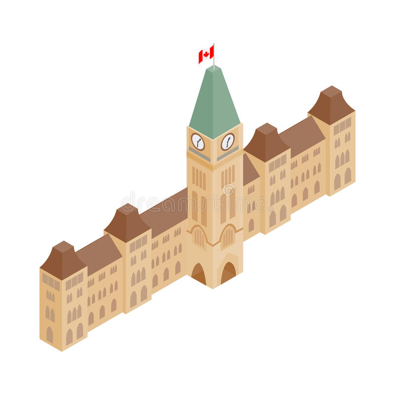 Parliament Buildings, Ottawa icon. In isometric 3d style on a white background royalty free illustration