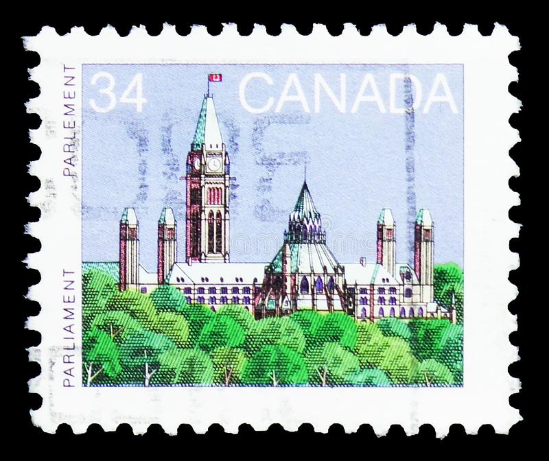 Parliament, Definitives 1985-2000 serie, circa 1985. MOSCOW, RUSSIA - MARCH 30, 2019: A stamp printed in Canada shows Parliament, Definitives 1985-2000 serie royalty free stock images
