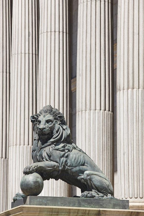 Parliament facade columns and lion in Madrid, Spain. Congreso. Diputados stock photos