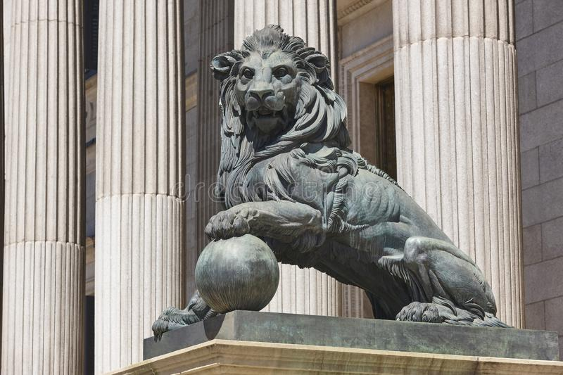 Parliament facade columns and lion in Madrid capital, Spain. Congreso. Parliament facade columns and lion in Madrid, Spain. Congreso diputados royalty free stock image