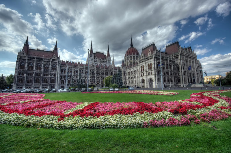 Parliament garden, Budapest. Yard of Budapest Parliament, Hungary. wide view stock image