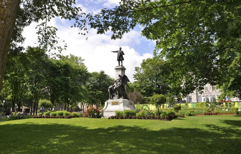 Parliament Garden Monument from Quebec City in Canada royalty free stock photo
