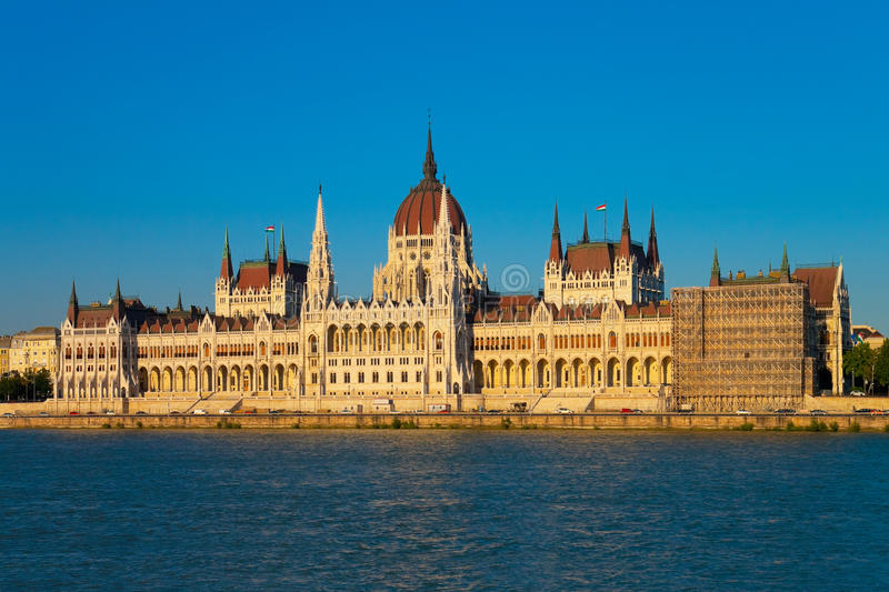 Parliament Hall in Budapest, Hungary. Beautiful summer view of the Parliament Hall in Budapest, Hungary - one of the famous architectural landmarks in Hungarian royalty free stock photography