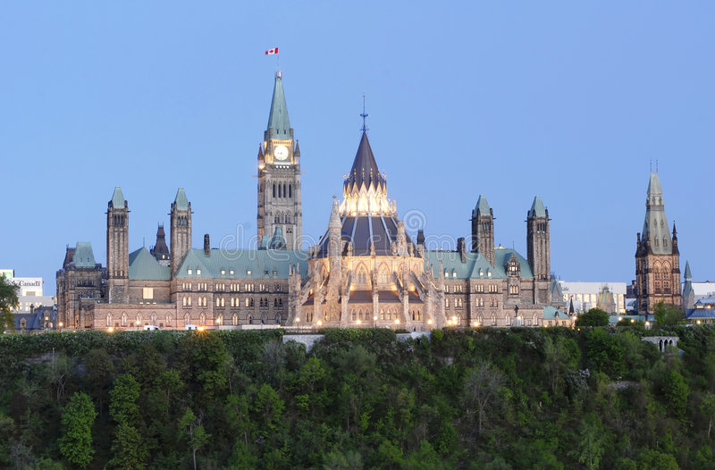 Parliament Hill Canada at Dusk stock photo