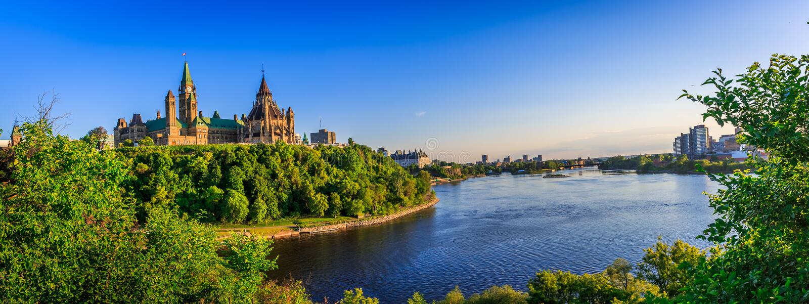 Parliament Hill, Ottawa, Canada. During the first days of summer stock image